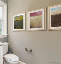 "Load image into Gallery viewer, Modern abstract landscape art ""Afternoon Delight,"" digital download by Victoria Primicias, decorates the bathroom."