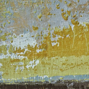 "Closeup detail of gold and brown abstract ocean art ""Afternoon Delight,"" canvas wall art by Victoria Primicias"
