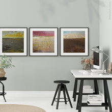"Load image into Gallery viewer, Gold and brown abstract landscape art ""Afternoon Delight,"" giclee print by Victoria Primicias, decorates the office."