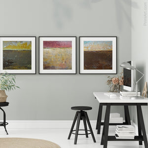 "Gold and brown abstract landscape art ""Afternoon Delight,"" giclee print by Victoria Primicias, decorates the office."