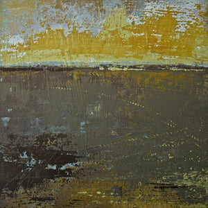 "Gold and brown abstract landscape art ""Afternoon Delight,"" giclee print by Victoria Primicias"