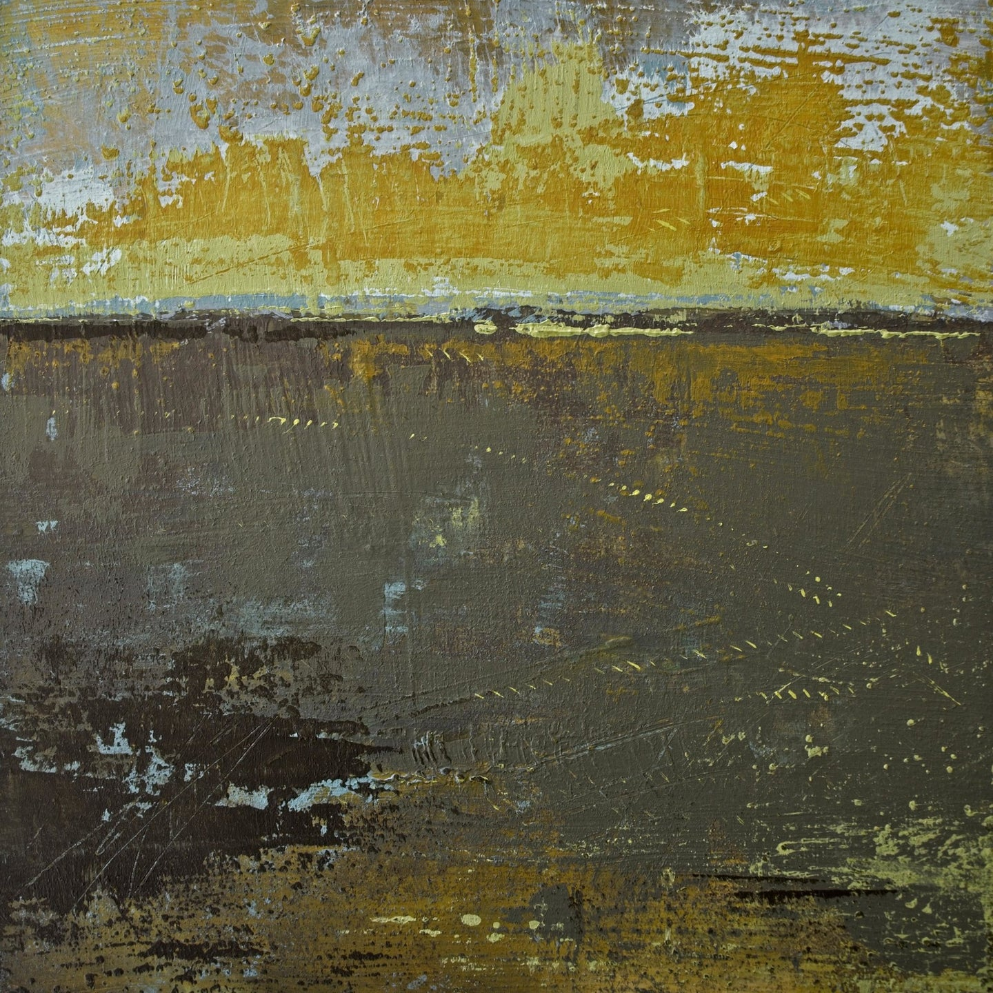 Gold and brown abstract landscape art