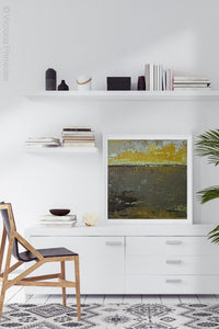 "Gold and brown abstract ocean art ""Afternoon Delight,"" canvas wall art by Victoria Primicias, decorates the office."