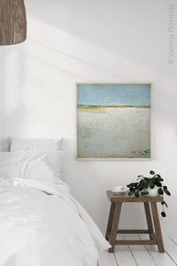 "Zen muted abstract beach art ""Alabaster Sands,"" downloadable art by Victoria Primicias, decorates the bedroom."