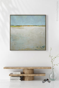"Zen muted abstract ocean art ""Alabaster Sands,"" digital print by Victoria Primicias, decorates the entryway."