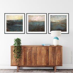 "Impressionist abstract beach art ""Almost Forgotten,"" digital art landscape by Victoria Primicias, decorates the hallway."