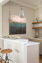 "Load image into Gallery viewer, Impressionist abstract ocean art ""Almost Forgotten,"" digital download by Victoria Primicias, decorates the kitchen."
