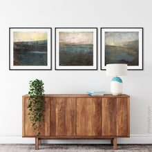 "Load image into Gallery viewer, Indigo abstract beach art ""Almost Forgotten,"" fine art print by Victoria Primicias, decorates the hallway."