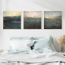 "Load image into Gallery viewer, Indigo abstract seascape painting ""Almost Forgotten,"" giclee print by Victoria Primicias, decorates the bedroom."