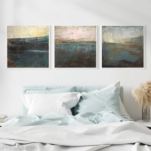"Indigo abstract seascape painting ""Almost Forgotten,"" giclee print by Victoria Primicias, decorates the bedroom."