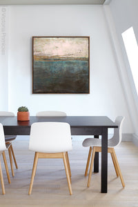 "Indigo abstract ocean art ""Almost Forgotten,"" wall art print by Victoria Primicias, decorates the office."