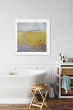 "Load image into Gallery viewer, Bright abstract landscape painting ""Amalfi Sound,"" digital download by Victoria Primicias, decorates the bathroom."
