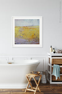 "Bright abstract landscape painting ""Amalfi Sound,"" digital download by Victoria Primicias, decorates the bathroom."