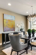 "Load image into Gallery viewer, Bright abstract landscape art ""Amalfi Sound,"" digital artwork by Victoria Primicias, decorates the dining room."