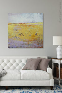 "Bright abstract landscape painting ""Amalfi Sound,"" digital print by Victoria Primicias, decorates the living room."