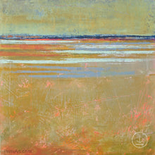"Load image into Gallery viewer, Zen abstract beach wall art ""Amber Keys,"" digital art landscape by Victoria Primicias"