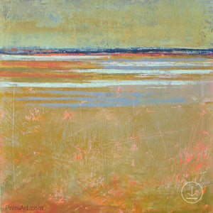 "Zen abstract beach wall art ""Amber Keys,"" digital art landscape by Victoria Primicias"