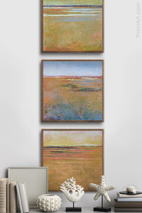 "Golden abstract beach wall art ""Amber Keys,"" canvas art print by Victoria Primicias, decorates the hallway."