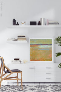 "Golden abstract beach wall decor ""Amber Keys,"" metal print by Victoria Primicias, decorates the office."