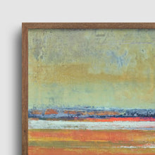 "Load image into Gallery viewer, Closeup detail of golden abstract beach wall art ""Amber Keys,"" canvas art print by Victoria Primicias"