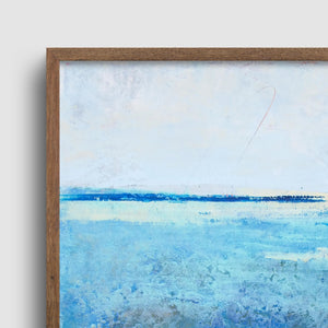 "Closeup detail of blue abstract beach wall decor ""Arctic Tidings,"" metal print by Victoria Primicias"