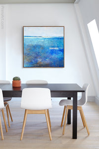 "Blue abstract coastal wall decor ""Arctic Tidings,"" fine art print by Victoria Primicias, decorates the office."
