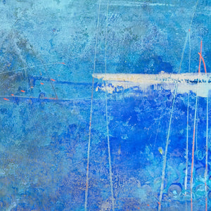 "Closeup detail of blue abstract coastal wall art ""Arctic Tidings,"" wall art print by Victoria Primicias"