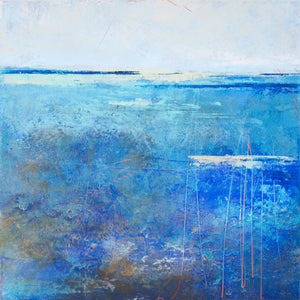 "Blue abstract beach wall decor ""Arctic Tidings,"" metal print by Victoria Primicias"