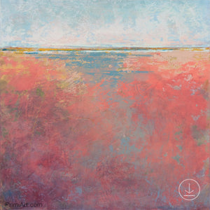 "Square abstract landscape art ""Azalea Coast,"" downloadable art by Victoria Primicias"