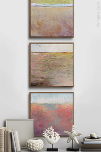 "Square abstract landscape art ""Azalea Coast,"" downloadable art by Victoria Primicias, decorates the entryway."