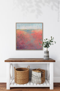"Square abstract landscape art ""Azalea Coast,"" digital print by Victoria Primicias, decorates the hallway."