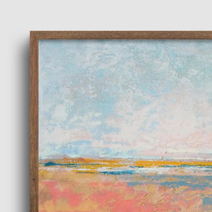 "Closeup detail of square abstract landscape art ""Azalea Coast,"" downloadable art by Victoria Primicias"