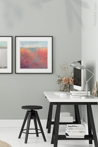 "Square abstract landscape art ""Azalea Coast,"" digital download by Victoria Primicias, decorates the office."