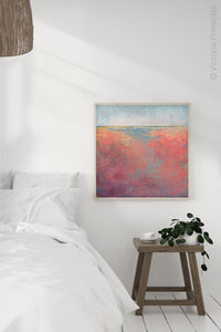 "Square abstract landscape art ""Azalea Coast,"" downloadable art by Victoria Primicias, decorates the bedroom."
