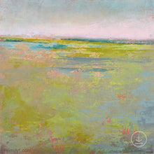 "Load image into Gallery viewer, Yellow green abstract landscape painting ""Bellini Fields,"" digital art by Victoria Primicias"