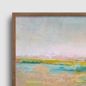 "Closeup detail of yellow green abstract landscape painting ""Bellini Fields,"" printable wall art by Victoria Primicias"