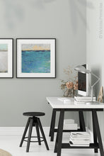 "Load image into Gallery viewer, Blue abstract seascape painting""Beryl Basin,"" printable wall art by Victoria Primicias, decorates the office."