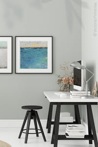 "Blue abstract seascape painting""Beryl Basin,"" printable wall art by Victoria Primicias, decorates the office."