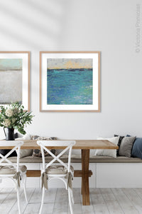 "Turquoise abstract beach wall art ""Beryl Basin,"" canvas art print by Victoria Primicias, decorates the dining room."
