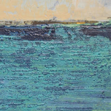 "Load image into Gallery viewer, Closeup detail of turquoise abstract seascape painting ""Beryl Basin,"" canvas print by Victoria Primicias"