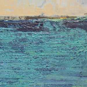 "Closeup detail of turquoise abstract seascape painting ""Beryl Basin,"" canvas print by Victoria Primicias"