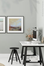"Load image into Gallery viewer, Coastal abstract landscape art ""Blue Promise,"" digital print by Victoria Primicias, decorates the office."