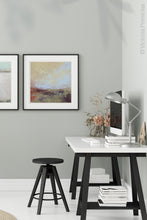 "Load image into Gallery viewer, Unique abstract landscape painting ""Blue Promise,"" giclee print by Victoria Primicias, decorates the office."