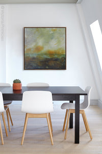 "Unique abstract landscape art ""Blushing Silence,"" digital download by Victoria Primicias, decorates the office."