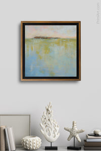 "Abstract landscape painting ""Borrowed Time"" decorates a wall above a shelf."