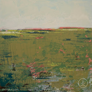 "Modern abstract landscape art ""Brassy Pastures,"" downloadable art by Victoria Primicias"