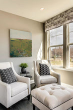 "Load image into Gallery viewer, Modern abstract landscape art ""Brassy Pastures,"" downloadable art by Victoria Primicias, decorates the living room."