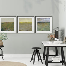"Load image into Gallery viewer, Modern abstract landscape art ""Brassy Pastures,"" downloadable art by Victoria Primicias, decorates the office."