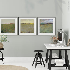 "Modern abstract landscape art ""Brassy Pastures,"" downloadable art by Victoria Primicias, decorates the office."