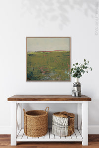 "Modern abstract landscape art ""Brassy Pastures,"" downloadable art by Victoria Primicias, decorates the entryway."